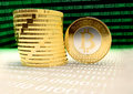 Bitcoins lots of bit coin btc the new virtual money Stock Images
