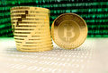 Bitcoins lots of bit coin btc the new virtual money Royalty Free Stock Image