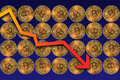 Bitcoins share prices fall Royalty Free Stock Photo