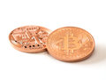 Bitcoins two bit coin btc the new virtual money Stock Photos