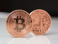 Bitcoins two bit coin btc the new virtual money Royalty Free Stock Photo