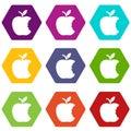 Bite apple icons set 9 vector