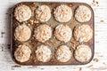 Bite taken out of walnut crumb sweet potato muffins Royalty Free Stock Photo