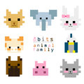 Bits animal family pixel art about wild Royalty Free Stock Images