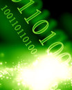 Bits and bytes on a soft glowing green background Stock Photos