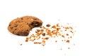 α bitten cookie with crumbs isolated on white Royalty Free Stock Photos