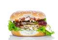 Bitten hamburger on white background Royalty Free Stock Images