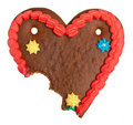 Bitten off gingerbread heart Royalty Free Stock Photography