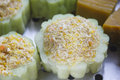Bitter melon stuffed with vermicelli, tofu, corn and carrot while steaming in steaming pot Royalty Free Stock Photo