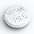 Bitter Pill Hard Medicine to Swallow Word Prescription Tablet Royalty Free Stock Photo