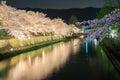 Biwa lake canal with sakura tree at night Royalty Free Stock Photo