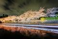 Biwa lake canal with sakura tree at night Stock Images