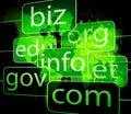 Biz com net shows websites internet or seo showing Stock Image