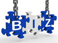 Biz Puzzle Shows Company Or Corporate Business Stock Image