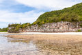 Bizarre cliff beach in ritidian guam Royalty Free Stock Images