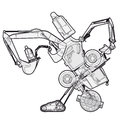 Bizarre outlined machine robot build from ground works components vehicles.