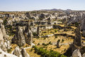 Bizarre rock formations of volcanic tuff in capadocia and basalt cappadocia turkey Stock Photos