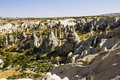 Bizarre rock formations of volcanic tuff in cappadocia and basalt turkey Stock Photography