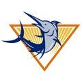 Blåa marlin fish jumping retro Royaltyfria Bilder
