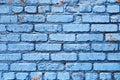 Blå tegelstenvägg med textur för skalningsmålarfärgbakgrund Royaltyfria Foton