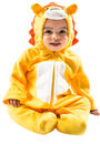 Black сhild boy dressed in lion carnival suit isolated on white background baby zodiac sign leo the concept of childhood and Royalty Free Stock Images