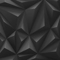 Black abstract polygon carbon background.