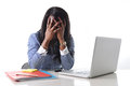 Black african american ethnicity stressed woman suffering depression at work depressed and frustrated working as secretary in Stock Images
