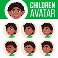 Black, Afro American Boy Avatar Set Kid Vector. Kindergarten. Face Emotions. Happy Childhood, Positive Person. Smile
