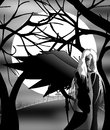 Black angel illustration representing a at night in a dead forest in front of an hill on which there s a cemetery Stock Photo