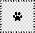Black animal`s paw print icon framed with paws Royalty Free Stock Photo