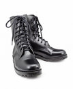Black army shoes isolated on white backgrounds Royalty Free Stock Photo