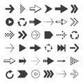 Black arrows set. Vector pictures isolate