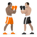 Black athletes boxers stand in rack illustration format eps Stock Photography
