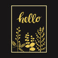 Black autumn background with gold leaves and hand drawn word hello in a frame Royalty Free Stock Photo