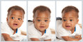 Black Baby Boy Facial Expression Collage Stock Photo