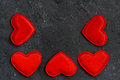 Black background with frames of red hearts closeup top view Royalty Free Stock Photography