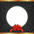 Black background with gift bow for present and transparent space insert for picture Stock Photos