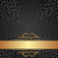 Black background gold and with abstract ornaments Royalty Free Stock Images