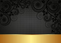 Black background and gold with floral ornaments Stock Image