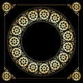 Black background with golden floral frame vector eps Royalty Free Stock Image
