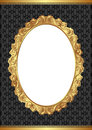 Black background with golden frame and transparent space insert for picture Royalty Free Stock Image