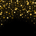 Black background with golden glitter particles elements in hexagon shape