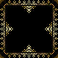 Black vector background with golden victorian ornament