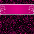 Black background with pink decorative ornaments Royalty Free Stock Photos