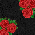 Black background with red roses and leaves. Royalty Free Stock Images
