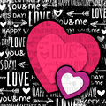 Black background with red valentine heart and wis wishes text vector illustration Stock Photo
