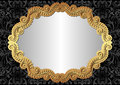 Black background silver with golden frame Royalty Free Stock Images