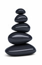 Black balanced pebbles d render isolated on white and clipping path Stock Photography