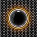 Black ball gold ring on metal hexagon mesh vector. Royalty Free Stock Photo