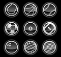 Black ball icons vector illustration of separate layers for easy editing Stock Image